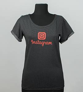 -Р- Футболка женская с отворотом Instagram Черный точки (0928жр), XL