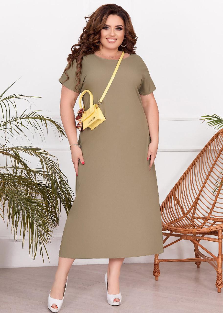 Летнее длинное платье прямого кроя для полных женщин