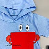 Комплект футболка, шорты голубой Интерлок Babydadoss Турция 74 (р) 86, фото 3