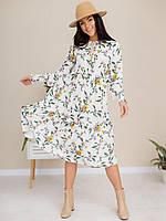 Женское легкое летнее платье-миди белого цвета с цветочным принтом в стиле бохо