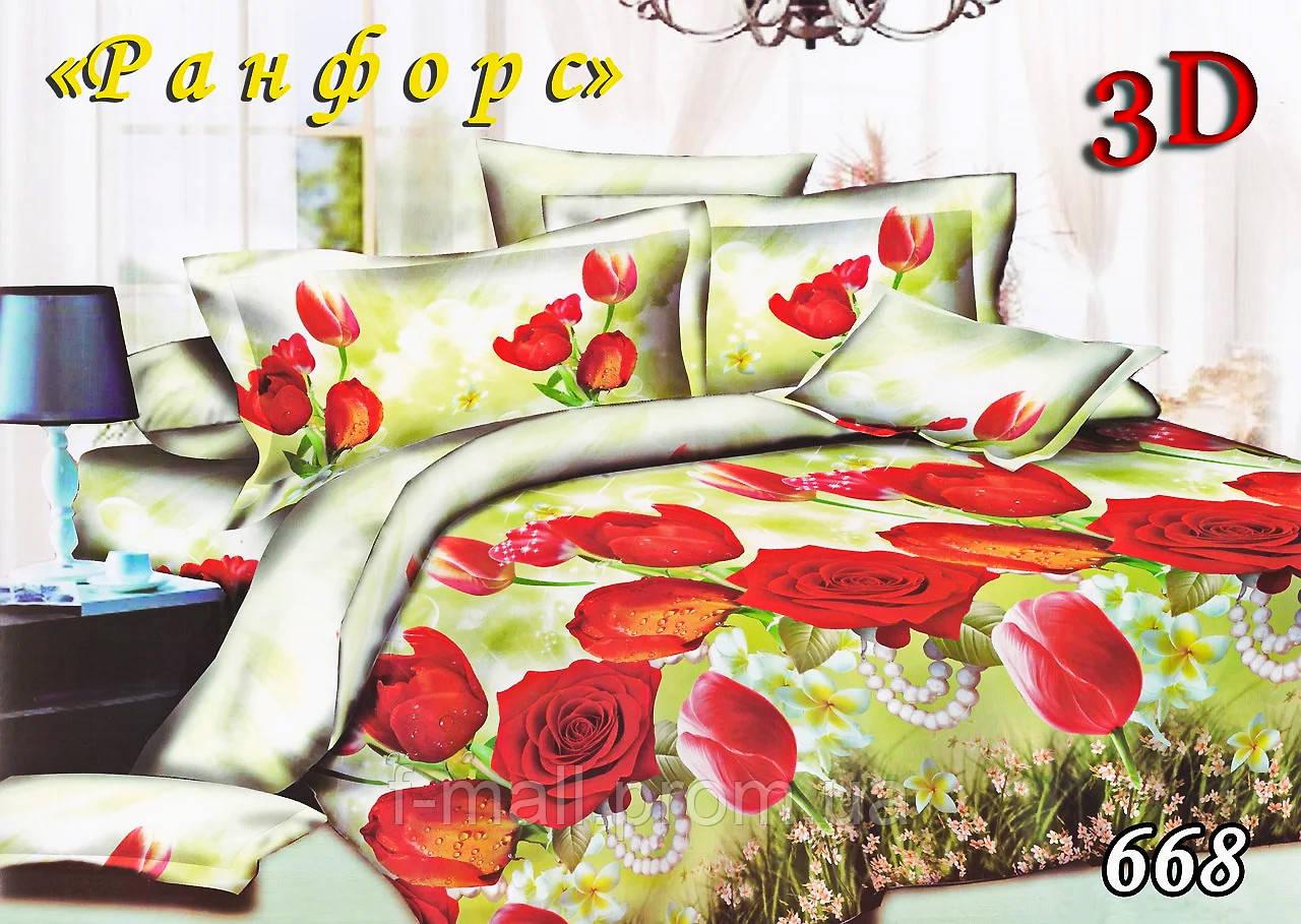 Двоспальне постільна білизна Тет-А-Тет (Україна) ранфорс простирадло на гумці (668)