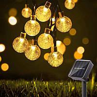 """Светодиодная гирлянда уличная 10 метров Crystal Ball 100 LED на солнечной батарее """"теплый"""" свет"""