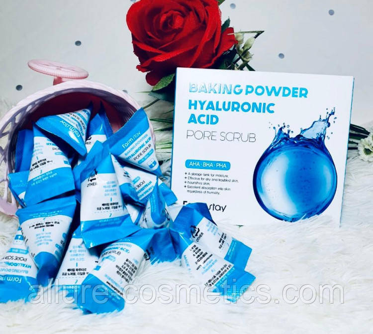 Скраб для лица с гиалуроновой кислотой FARM STAY BAKING POWDER HYALURONIC ACID PORE SCRUB 25шт