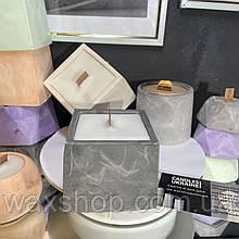 Аромо свеча в кашпо, свеча с деревянным фитилем, квадрат