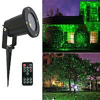 Уличный новогодний лазерный проектор с пультом (корпус цилиндрический, металл) на дом (новорічний проектор),