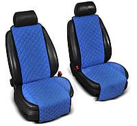ТОП Качество Накидки на сидения из Алькантары широкие 1+1 цвет синий