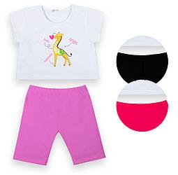 Детский костюм для девочки: футболка кроп-топ и укороченные велосипедки, кулир, KS-21-7-2, GABBI (размер