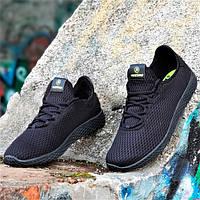 Мужские кроссовки лето сетка для бега спортзала комфорт стильные легкие дышащие черные 44 размер Restime 21169