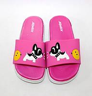 Силиконовые детские шлепанцы для девочек розового цвета с бульдогом