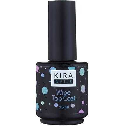 Топ гель для лаку Kira Nails NO Wipe Top Coat 15 мл без липкого шару, фото 2