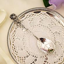 Серебряная ложка для сахара в дизайне Хильдесхаймская Роза, серебро, 835 проба, Германия, Christoph Bach