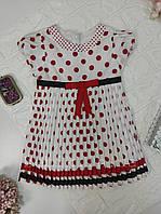 Біле плаття з плісировка в горошок для дівчинки р. 110