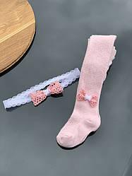 Колготки ОПТОМ + пов'язка ніжно рожеві (весна-літо). 4-12 міс, 12-18 міс