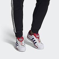 Кроссовки Adidas SUPERSTAR FV4189 Мужские Адидас Оригинальные Белые с Синими Полосками Повседневные
