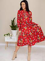 Женское легкое летнее платье-миди красного цвета с цветочным принтом в стиле бохо