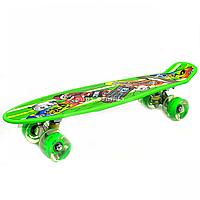 Пенни борд (скейт) зеленый со светящимися колесами. Бесшумный Penny Board, 56*14,5*10 см, (MS 0749-5)