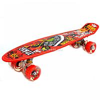 Пенни борд (скейт) красный со светящимися колесами. Бесшумный Penny Board, 56*14,5*10 см, (MS 0749-5)