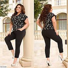 Костюм двойка рубашка и брюки сзади на резинке, №339, черный с цветочным принтом, с 44 по 58р.