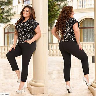 Костюм двойка рубашка и брюки сзади на резинке, №339, черный с цветочным принтом, с 44 по 58р., фото 2