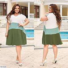 Платье трехцветное свободного кроя, №335, молочный/фисташка/хаки, с 44 по 58р.