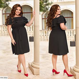 Сукня з подвійним рюшем і поясом на резинці, №328, чорний, з 42 по 58р., фото 2