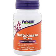Наттокиназа, 100 мг, Nattokinase, Now Foods, 60 вегетарианских капсул