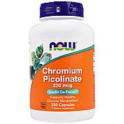 Хром Пиколинат, Chromium Picolinate, Now Foods, 200 мкг, 250 капсул
