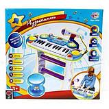 Дитяче піаніно зі стільчиком 7235BLUE мікрофон в комплекті, фото 2