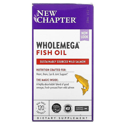 Жир Аляскинского Лосося 1000мг, Wholemega, Alaskan Salmon Oil, New Chapter, 120 желатиновых капсул, фото 2