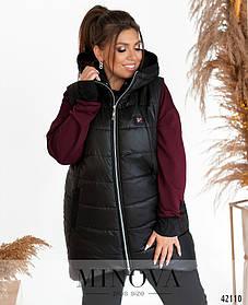 Теплый длинный женский жилет черного цвета на молнии с капюшоном, больших размеров от 50 до 64