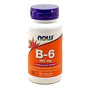 Витамин В6 (Пиридоксин), Vitamin B6, Now Foods, 100 мг, 100 капсул