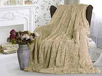 Плед покрывало на кровать диван травка высокий ворс облегченный мех бежевый пушистый искусственный 220*240