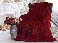 Плед покрывало на кровать диван травка высокий ворс бордовый облегченный мех искусственный 220*240