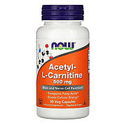 Ацетил-L-Карнитин, Acetyl-L-Carnitine, Now Foods, 500 мг, 50 вегетарианских капсул