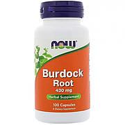 Корень лопуха 430мг, Now Foods, Burdock Root, 100 капсул