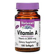 Витамин A 3000 мкг, Bluebonnet Nutrition, 100 желатиновых капсул
