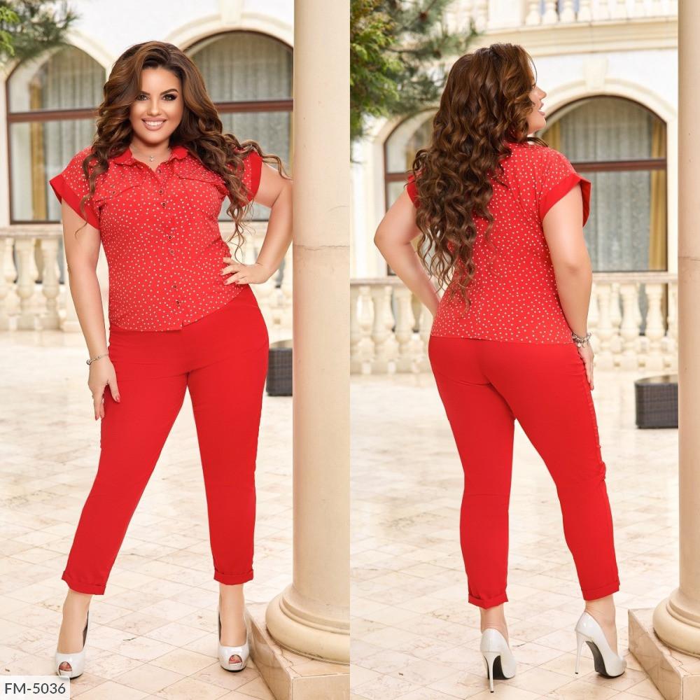 Костюм двойка рубашка и брюки сзади на резинке, №339, красный в мелкий горошек, с 44 по 58р.