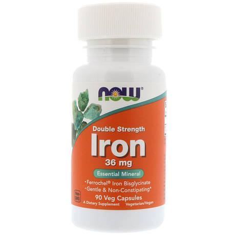 Железо, Iron, Now Foods, 36 мг, 90 капсул, фото 2