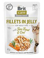 Brit Care Adult Cat Fillets in Jelly (форель и треска в желе), 85 г