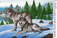 """Схема для частичной вышивки бисером """"Волки на снегу"""""""