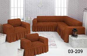 Чехол на угловой диван и кресло с оборкой, натяжной, жатка-креш, универсальный Concordia Цвет Кирпичный