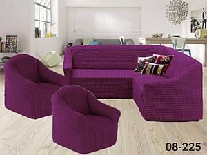 Чехол на угловой диван и кресло без оборки, натяжной, жатка-креш, универсальный Concordia Цвет Фиолетовый