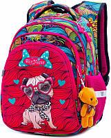 Рюкзак школьный для девочки 1-4 класса ортопедический с 3D рисунком Мопс 29*38см SkyName R2-174
