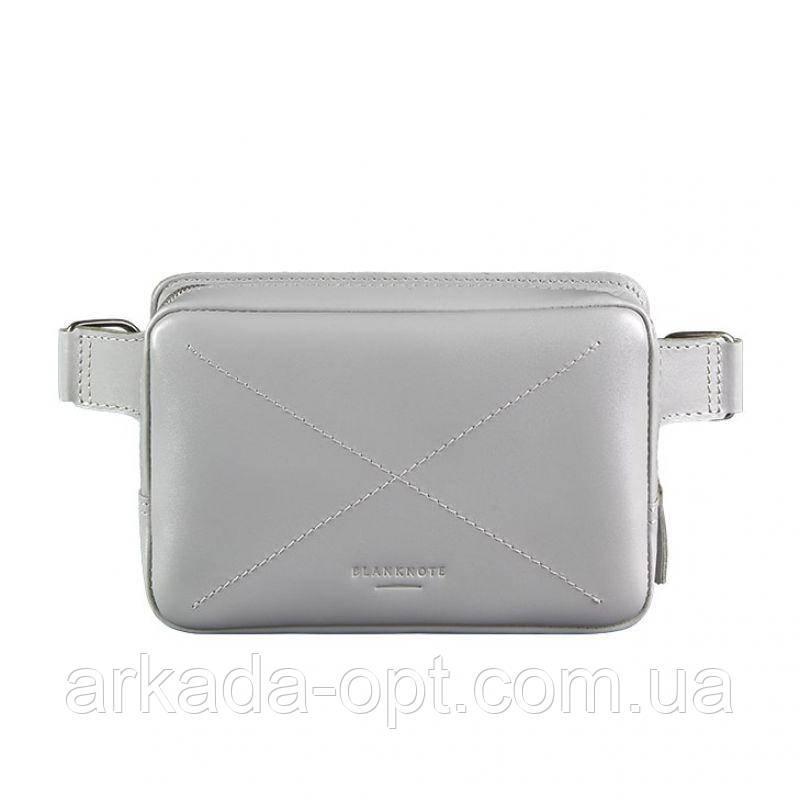 Женская поясная сумка кожаная BlankNote Dropbag Mini Серая (bn-bag-6-shadow)