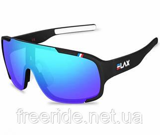 Сонцезахисні спортивні велоокуляри ELAX зерк.синя лінза чорні