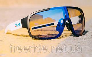 Сонцезахисні спортивні велоокуляри ELAX зерк.синя лінза білі