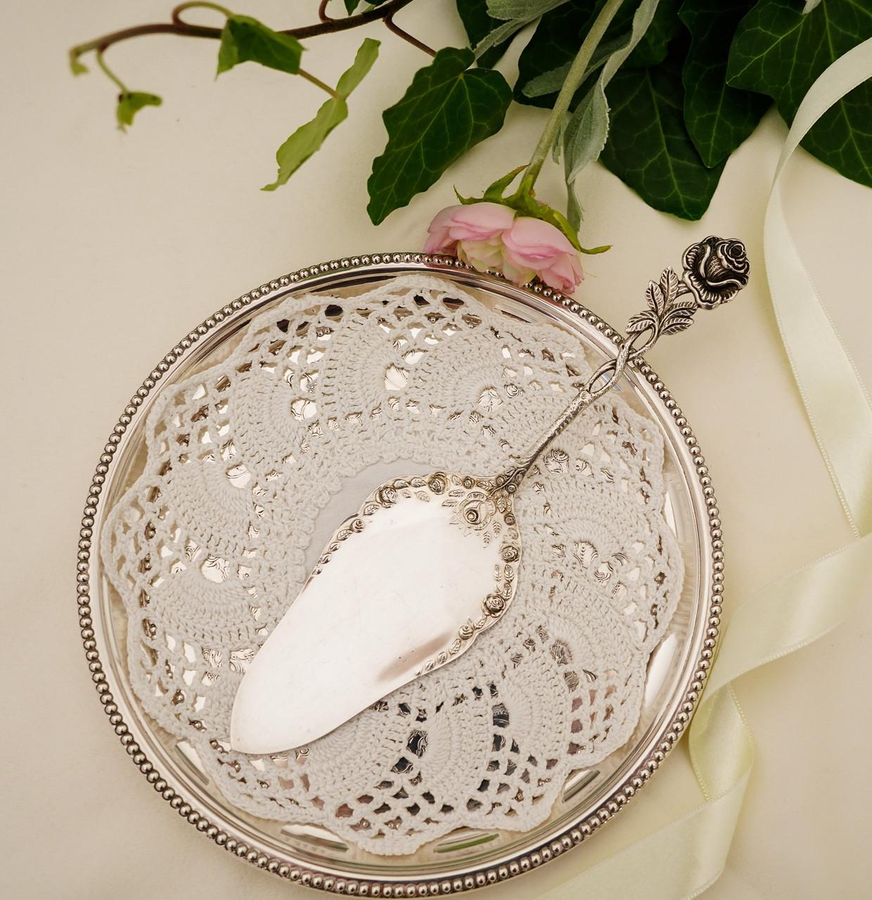 Серебряная кондитерская лопатка для торта,  десерта, серебро 800, Германия, Gebrüder Reiner