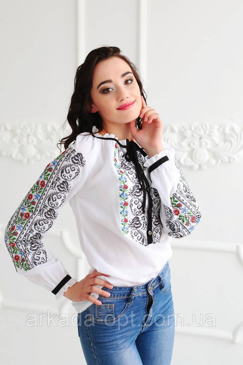 Жіноча вишиванка Скиба СК2334 44 Білий з візерунком