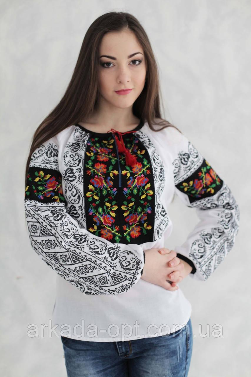 Жіноча вишиванка Скиба СК2335 52 Білий з візерунком