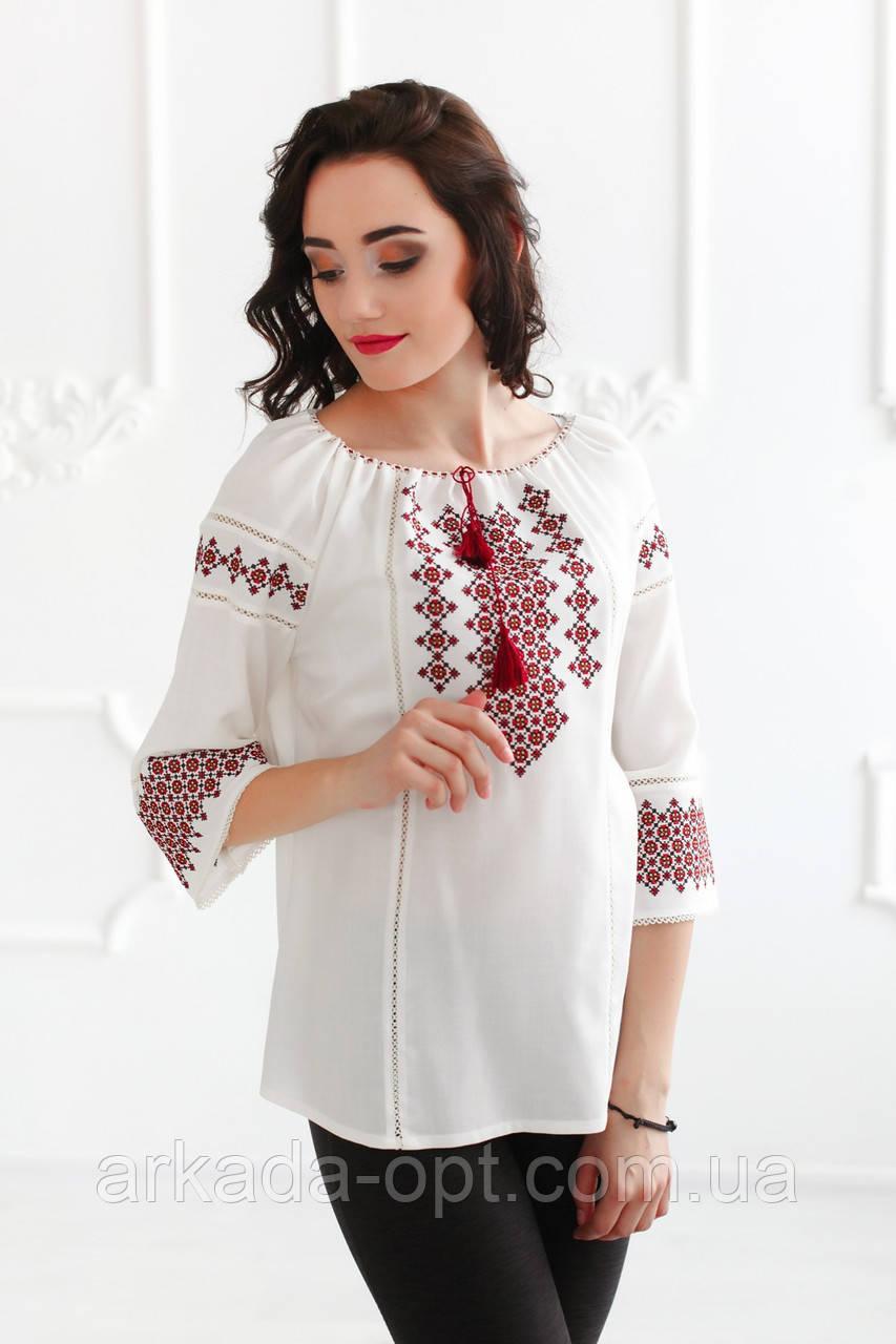 Жіноча вишиванка Скиба СК2382 40 Білий з візерунком